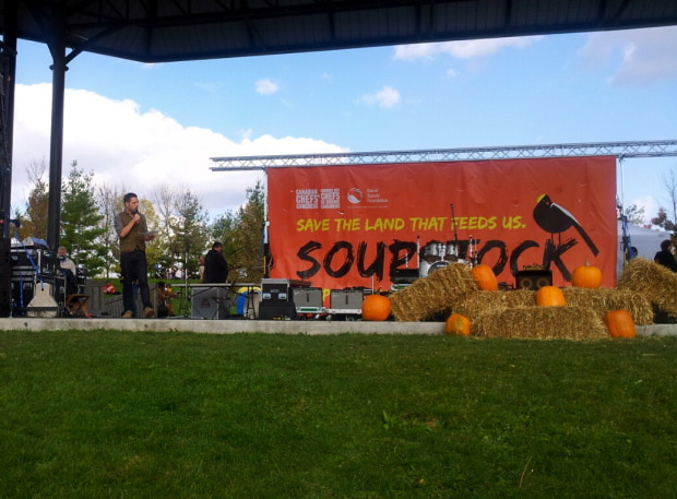 George Snuffleupagus introducing one of many musical acts at Soup Stock 2012