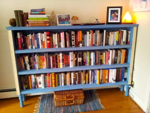 The beautiful bookcase my friend Jay made me filled with a portion of my books...