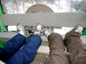 These tiny little feet take me on all my adventures, like skiing in Banff with my sister!