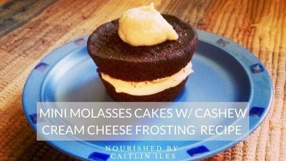 Mini Molasses Cakes with Coconut Cashew Cream Cheese Icing Recipe
